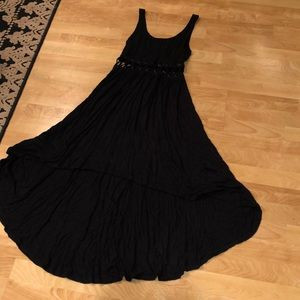 Black Lightweight High Low Dress